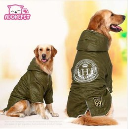 Perros ejército abrigos chaquetas online-Ejército verde Invierno Cálido grande grande Perro Ropa para mascotas sudadera con capucha polar perro perdiguero de oro perro de algodón acolchado chaqueta abrigo ropa para perro