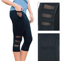 Sıcak Satış Kadınlar Yüksek Bel Yoga Gym Legging Buzağı uzunlukta Pantolon Pantolon Spor tayt Spor Kız Siyah Mesh 3/4 Yoga Pantolon supplier hot black girl leggings nereden sıcak siyah kız tayt tedarikçiler