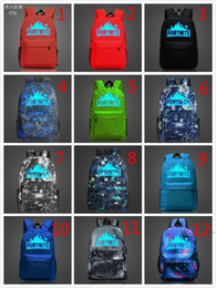 Wholesale luminous dhl - 10pcs DHL free shipping New Arrival FVIP Fortnite Battle Royale School Bag Noctilucous Luminous Backpacks Game Fortnite Backpack 12Color