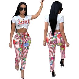 Wholesale wholesale women clothing europe - Europe America women clothing sports casual two pieces nightclub clothing love print t shirt crop tops striped pants tracksuit summer outfit