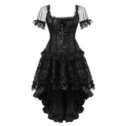 robes burlesques grande taille Promotion robe corset overbust victorienne taille plus bretelles taille manches burlesque corset et jupe dentelle fleur halloween noir