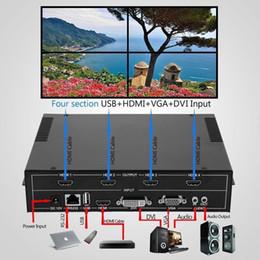 samsung tab con cable de datos 3m Rebajas 1 unids / lote, 4 canales HDMI VGA DVI USB Video procesador 2x2 TV proyector Video Wall Controller, envío gratis