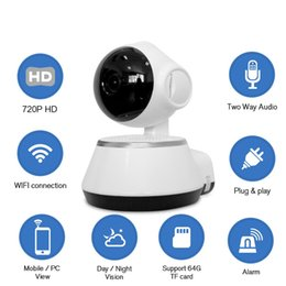 Ip cctv cam online-720P V380 Cámara IP Wi-Fi Cámara de vigilancia inalámbrica P2P CCTV Wifi Cámara IP APP gratuita V380 Seguridad para el hogar Cam Baby Monitor 1PCS / LOT