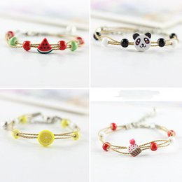 Wholesale Pottery Animals - Soft Pottery Bracelets Women Couples Cartoon Fruits Chain & Link Bracelets Jewelry Cute Handmade Weave Bracelets & Bangles