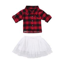 c5ce69f0d 2019 meninas vermelho xadrez Roupas de natal Do Bebê meninas infantil  vermelho preto Xadrez top +
