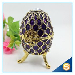 Wholesale Metal Easter Eggs - Wholesale-Fashion Easter Metal Crafts Gifts Faberge Egg Trinket Box Egg Shaped Jewelry Box for Women