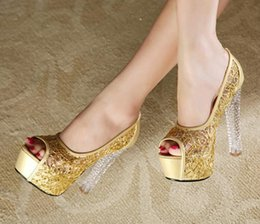 gold chunky heeled sandals Coupons - The new summer sandals with coarse female high heels nightclub sexy fish mouth shoes crystal sandals