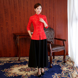Wholesale Elegant Qipao - New Red Women 2PCS Lace Sexy Cheongsam Elegant Chinese Style Bride Bridesmaid Dress Vintage Flower Slim Qipao Plus Size 4XL