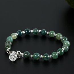 Wholesale Handmade Gemstone Bracelets - Charm Original handmade diy hand string of ancient lotus, water and grass agate bracelet women's jewelry wholesale green gemstone