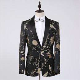 Smoking dourado on-line-Freeship mens preto dourado bordado jaqueta de smoking / palco desempenho / estúdio terno / tamanho da ásia