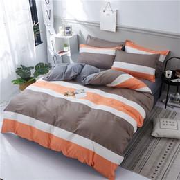 Cama de la reina de color naranja marrón online-ropa de cama de moda de lujo conjuntos Marrón naranja rayas blancas edredón funda de cama de negocios hoja gemela completo queen king size ropa de cama