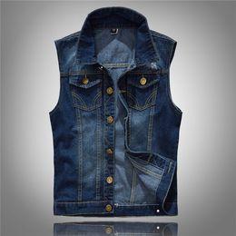 Wholesale Men Sleeveless Jean - Denim Vest Men's Jacket Sleeveless Casual Waistcoat Men's Jean Coat Ripped Slim Fit Male Jacket Cowboy M-5XL