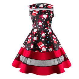 Wholesale Ladies Night Gowns - Chrismas Woman Ladies Vintage Santa Snowman Print Mini Tutu Dresses Xmas Gift Sleeveless Evening Party Skater Dress Vestidos Top
