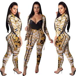 Tenue en or à deux pièces en Ligne-Free Ship Femmes Ladie Mode Chaîne En Or Imprimé Veste + Pantalon Deux Pièces Ensemble Casual 2pcs Costume Tenues