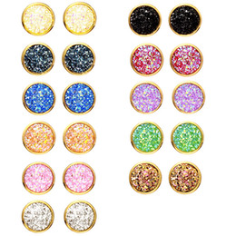 Wholesale handmade fashion earrings - Fashion 12mm Resin Druzy Drusy Round Earrings gold color glitter Handmade Stud for Women Jewelry