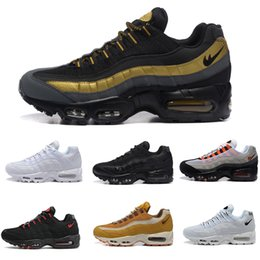 Wholesale Sports Neon Lights - 2018 New Cheap Men air sports 95 running shoes,high quality man Premium OG Neon Cool Black sporting shoes sneakers eur 40-46