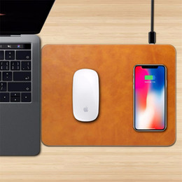 Wholesale Quick Mouse - Wireless charger Mouse Pad Multi Function Universal Fast Charger PU Leather Soft Mouse Met For iphone X 8 plus Samsung s8 plus LG G10 OPPBAG