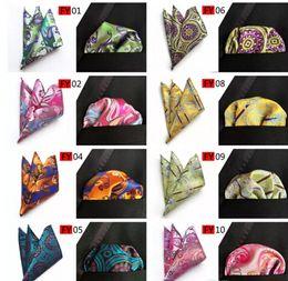 Seta quadrata tascabile online-New Arriver Men Paisley tie Pattern Pocket Square Fazzoletto Silk Paisley Men Hankies for Men Suit Square