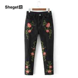 3811e4a8e3f3d Shegetit High Waist Vintage Floral Embroidery Jeans Women Jeans Long Denim  Pants Women Pockets Casual Brand Streetwear Trousers