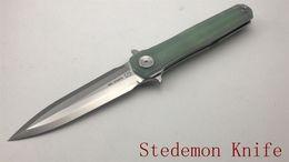Wholesale Hunting Swords - Jade G10 Stedemon Knife C05 Sword 14C28N Satin Linerlock Folder Kinfe Bearing Camping Free Shipping