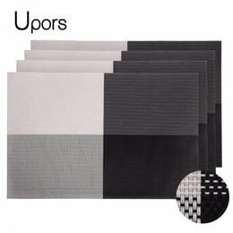 Wholesale Vintage Table Settings - Wholesale- Upors Brand 4pcs PVC Placemats for Table Set Pad Vintage Plastic Mat Coaster Non-Slip Woven Runner Dining Placemat 30*45CM