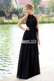 Wholesale Halter Top Chiffon Evening Gown - Exquisite Black 2018 Prom Dresses Lace Top Chiffon Skirt With Bow Sash Halter Long Formal Custom Made Party Evening Party Gowns