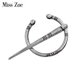 Wholesale Zoe Dresses - Miss Zoe Viking age Norse silver bronze brooch for dress suite pin Coat Cloak Brooch Pins Retro vintage jewelry for men women