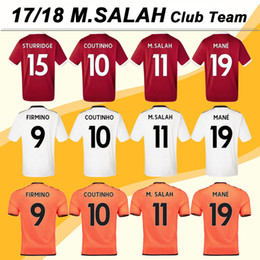 Wholesale Mens Shirt Red - 2018 COUTINHO Home Red Soccer Jersey SALAH ROBERTO MANE Away White 3rd Orange Mens Short Football Jerseys 17 18 Uniform MATIP Soccer Shirts