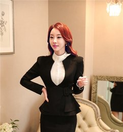 Wholesale Ladies Long Blazers Styles - Novelty Black Spring Autumn Formal OL Styles Ladies Long Sleeve Blazers For Business Women Jackets Office Tops Blaser Coat
