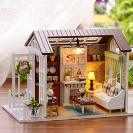 Doll Houses Dolls & Stuffed Toys Diy Wooden Sand Table Model Doll House Assembly Toy Creative Toy Wooden Sand Table Model Doll House Cute Baby Light Easy To Repair