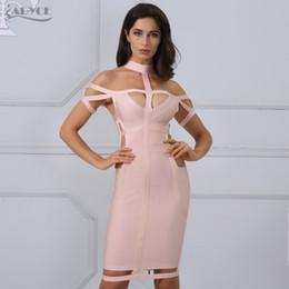 95573067cf Adyce nuevo vestido vendaje de las mujeres Celebrity Evening Party vestido  de verano 2018 Royal azul albaricoque hueco vestido ajustado Vestidos S919