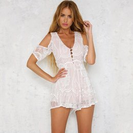 93d9da163b Women Clothes Playsuit Ladies V-neck Solid Lace Backless Cold Shoulder Short  Sleeve Bodysuits Romper With Beach