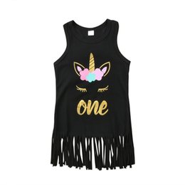 Wholesale Soft Cotton Baby Dresses - Cartoon Unicorn Baby Girls Soft Cotton Tassel Dress Summer Sleeveless lovely Princess T-shirt Dress for Toddlers Kids Party Gown Clothes