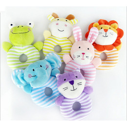 Wholesale girls development - 2017 Newborn Cute Cotton Baby Boy Girl Rattles Infant Animal Hand Bell Kids Plush Toy Development Gifts Rings Toddler Toys
