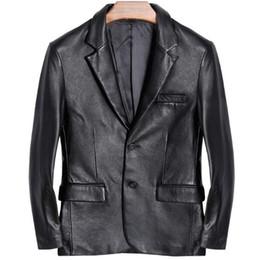 6f59e4bc5b73b Traje de cuero para hombre Chaqueta de la motocicleta 100% Natural Genuino  de piel de oveja Real Slim Fit Clásico italiano Formal Blazers Negro Hombre  ...