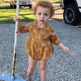 ins bébé filles barboteuses jaune Floral imprimé manches longues combinaisons pour enfants printemps infantile automne nouvelle usine de vêtements gratuit DHL A898 ? partir de fabricateur