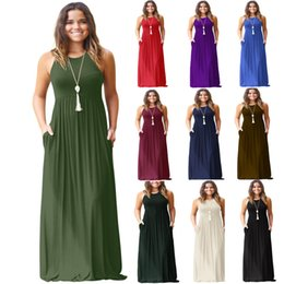 27baca3fc9f507 Vestido Maxi Dress For Women Sleeveless Piano Lunghezza Abiti lunghi Donna  O Neck robe longue femme Estate Abiti casual Abito premaman
