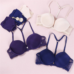 push button small Promo Codes - New Fashion bra set spring and summer seamless sexy front button push up underwear set buckle female small chest bra