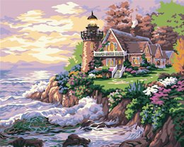 "Wholesale Seaside Canvas - DIY Oil Painting Paint by Numbers Seaside Villa Drawing With Brushes Paint for Adults Kids Beginner Level 16"" x 20"""