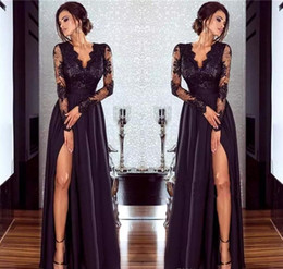 Wholesale Nude Long Dresses - 2018 Burgundy Lace Evening Dresses Sexy Illusion Long Sleeve Floor Length Formal Party Gowns Backless Red Carpet Celebrity Party Prom Gowns