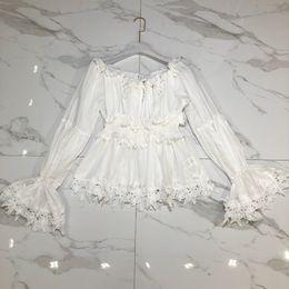 led lanterns NZ - Nanyou 2018 Sweet Small Fresh One Word Lead Strapless Lantern Sleeve Degree Of Tightness Lace White Shirt Immortal Fairy Jacket Summer