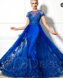 Wholesale Short Prom Embroidered Dresses - Jewel Neck Short Sleeve A-Line Appliques Evening Dress