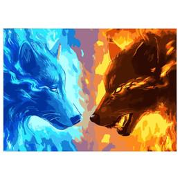 marco de fotos digital cuadrado Rebajas Wolf Animal Painting Picture By Numbers DIY pictures Pintura al óleo de la lona sin marco o con marco Decoración para el hogar Living Room Decor