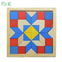 Wholesale Geometry Games - Fun Geometry Rhombus Tangrams Logic Puzzles Wooden Toys for Children Training Brain IQ Games Kids Gifts