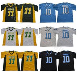 Carolina negra on-line-NDSU Bison Faculdade 11 Carson Wentz Jersey Homens North Carolina Tar Saltos de Futebol 10 Mitchell Trubisky Jerseys UNC Preto Azul Branco Verde