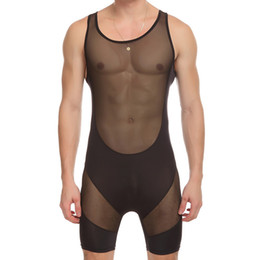 Wholesale mesh mens vests - sexy Men's Fitness Conjoined Vest mesh Transparent Body Shaper Men Underwear Mens Bodysuits