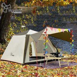 2019 семейные кемпинговые палатки спальни 3-4 Person Double Layer  Family Camping Tent Large Awning Tent One Bedrooms Outdoor Camping скидка семейные кемпинговые палатки спальни