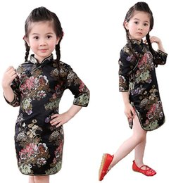 Wholesale Girls Clothing Leopard Print - Peony Baby Girls Dress 2018 Chinese Qipao Clothes For Girls Jumpers Party Costumes Floral Children Chipao Cheongsam Jumper 2-16Y