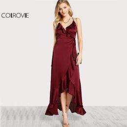 Wholesale sexy open back maxi dresses - COLROVIE V Neck Spaghetti Strap Flounce Trim Open Back Wrap Dress 2017 Sexy Ruffle Sleeveless High Low Cut Out Slip Maxi Dress