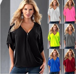 Wholesale Sexy Loose Shirts - Women T Shirts Summer Loose Tops Women Fashion Sexy V Neck Half Sleeves Loose Tops T-Shirt Blouse Tee Women's Clothing KKA3789